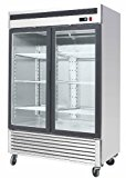 "54.5"" 2 Door Double Door Upright Stainless Steel Glass Window Reach In Freezer Merchandiser Display Case, MCF-8703, 45 Cubic Feet, Commercial Grade"