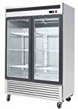 """54.5"""" 2 Door Double Door Upright Stainless Steel Glass Window Reach In Freezer Merchandiser Display Case, MCF-8703, 45 Cubic Feet, Commercial Grade"""