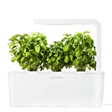 Click & Grow Indoor Smart Fresh Herb Garden Kit With 3 Basil Cartridges & White Lid | Self Watering Planter & Patented Nano-Tech Medium For Plant Growth