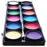 Blue Squid Face Paint 12 Color Palette | 30 Stencils, 3 Brushes, Jumbo Size Sturdy Case | Professional Best Quality Painting Kit for Kids | Water Based Set Non-Toxic FDA Approved | +Online Guide