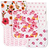 """Baby Burp Cloths for Girls 5 Pack, Large 21""""x10"""", Triple Layer, 100% Organic Cotton, Thick, Soft and Absorbent Towels, Burping Rags for Newborns, Baby Shower Gift by KiddyStar"""