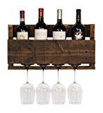 del Hutson Designs - The Little Elm Wine Rack, USA Handmade Reclaimed Wood, Wall Mounted, 4 Bottle 4 Long Stem Glass Holder (Ebony)
