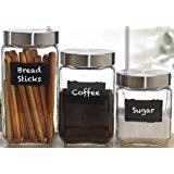 Circleware Provincial Set of 3 Glass Canisters with 2 Pieces of Chalk, 84oz, 44oz, 32oz