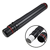DEWEL Telescoping Art Tube Expands from 24 to 40 inches Plastic Waterproof and Light Resistant Expandable Carrying Case with Adjustable Strap for Posters Artworks Drawings—Black