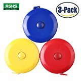 3 Pack Tape Measure 150 Cm 60 Inch Push Button Tape Body Measuring Soft Retractable For Sewing Double-Sided Tailor Cloth Ruler (Red Yellow Blue) By BUSHIBU