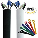 Premium 120'' Cable Management Sleeve with Free Zip Ties| Best Cords Organizer for TV, Computer, Home Entertainment | DIY Adjustable Velcro Cord Sleeve, Wire Cover, Concealer, Cable Wrap