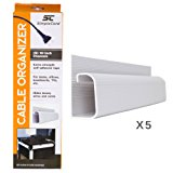 J Channel Cable Organizer by SimpleCord – 5 White Raceway Channels - Cord Cover Management Kit for Desks, Offices, and Kitchens