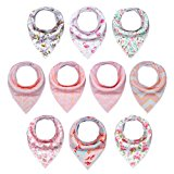 10-Pack Baby Girl Bandana Drool Bibs for Drooling and Teething by MiiYoung