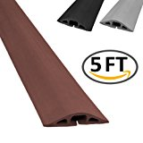 D-2 Rubber Duct Cord Cover - Length: 5FT - Color: Brown Cable Protector