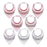 8-Pack Bandana Bibs, 100% Organic Cotton for Drooling and Teething, Two Adjustable Nickel-Free Snaps, Perfect Baby Shower Gift Set for Girls Infant to Toddlers by ProMommies