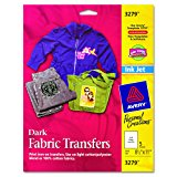 Avery InkJet Iron-On Dark T-Shirt Transfers, White