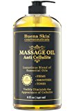 Anti Cellulite Massage Oil Treatment - Lifts and Tightens Skin Appearance - D-limonene formula - Targets Unwanted Fat Cell Deposits - Hydrates and Moisturizes - By Buena Skin 8 OZ