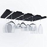 Hanging Under Cabinet Stemware Wine Glass Holder Rack , Adjustable Stemware Glass Storage Wood , Pack of 2 (Black)