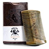 "Beard Comb Kit for Men - Great for Head Hair, Beard & Mustache - Handmade Premium Sandal Wood - Fine Dual Action Teeth - Comes with Gift ""Hunter Jack"" PU Leather Case - Free eBook"
