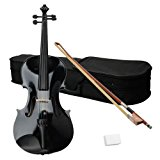 Acoustic Viola with Case, Bow, Rosin for Beginners Student Viola Starter Kit (16 Inch, Black)