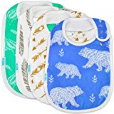 Premium Cute Baby Toddler Bibs Burp Burpy Cloths 4 Pack Gift Set Soft Absorbent Extra LARGE Feeding Reflux Drool Teething Bibs,Triple Adjustable Snap Buttons, Funny Personalized for Boys & Girls …