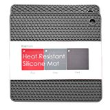 BasicForm Silicone Trivet Square Honeycomb Pattern 7.5x7.5x0.31 Inches (Set of 2) (Gray)