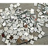 Set of 200pcs Small Square Glass Crafts, Real Glass Mirror Mosaic Tiles 1x1cm (1x1CM)