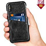 iPhone X Case, Benuo [Card Slot Vintage Series] Genuine Leather Case with 2 Card Slots, Ultra Slim Leather Case Back Cover for iPhone X (Stylish Black)