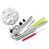 KAMsnaps Pliers Hand Press Setter Tool and 100 KAM Snaps, White Plastic Snaps