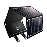 Solar Charger RAVPower 16W Solar Panel with Dual USB Port Waterproof Foldable for Smartphones Tablets and Camping Travel