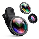 AMIR Camera Lens Kit, 0.4X Super Wide Angle Lens + 180° Fisheye Lens & 10X Macro Lens (Attached Together), Clip on 2 in 1 Cell Phone Lens for iPhone 8, 7, 6s, 6, 5s & Samsung & Smartphones