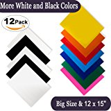 """Heat Transfer Vinyl for T-Shirts 12x15"""" 12 Sheets-Iron On Vinyl HTV Bundle for Silhouette Cameo, Cricut Vinyl Or Heat Press Machine Tool-More Black and White Vinyl Choices Flat Packing"""