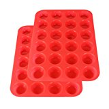 2Packs Silicone Mini Muffin Pan, 24 Cup Silicone Molds, Cupcake Baking Pan by Suntake (Red)