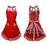 Hyzrz Cute Fashion Cotton Flirty Red Aprons for Women Girls Vintage Cooking Retro Apron with Pockets for Christmas Gift