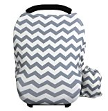 Baby Car Seat Cover canopy nursing and breastfeeding cover(grey and white chevron)