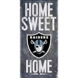 Oakland Raiders Official NFL 14.5 inch x 9.5 inch Wood Sign Home Sweet Home by Fan Creations 048517