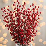 Factory Direct Craft Group of 12 Red Hand Wrapped Artificial Berry Sprays for Floral Arranging, Designing and Crafting