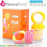NatureBond Baby Food Feeder / Fruit Feeder Pacifier (2 PCs) - Infant Teething Toy Teether in Appetite Stimulating Colors   Includes 6 PCs All Sizes Silicone Sacs