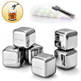 LUVCOK Stainless Steel Ice Cubes, Chilling Reusable Ice Cubes, Whiskey Stones, Cooling Rocks, with Nonslip Silicon Tongs and Tray, for Whiskey Vodka Wine Beer Soda and Any Beverage, Pack of 6 …