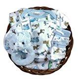 Gift Basket for a Baby Boy - Teddy Bear Sleeper Newborn Gift Set