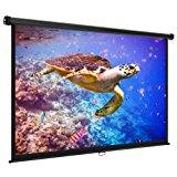 """VonHaus 80 Inch Projector Screen - Manual Pull Down - 80"""" Widescreen Indoor Home Theater / Cinema Platform - 16:9 Aspect Ratio Projection Screen - Suitable For HDTV / Sport / Movie / Gaming"""