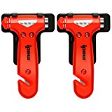 2 PCS IPOW Car Safety Antiskid Hammer Seatbelt Cutter Emergency Class/Window Punch Breaker Auto Rescue Disaster Escape Tool