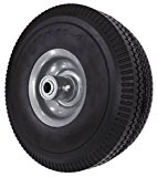 Shepherd Hardware 9704 10-Inch Flat Free Tire, 3-Inch Sawtooth Tread, 5/8-Inch Bore Offset Axle