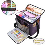 """Teamoy Knitting Bag, Yarn Tote Organizer with Inner Divider (Sewn to Bottom) for Crochet Hooks, Knitting Needles(up To 14""""), Project and Supplies, High Capacity, Easy to Carry--No Accessories Included"""