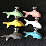 SunKni 6Pcs Ceramic Knobs for Drawer Cabinet Dresser, Animal Handles Pulls for Closet Wardrobe Cupboard Kitchen Door Furniture with Free Screws New Sets Pack of 6 Different Colors (Dolphin)