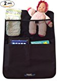 Deluxe Kick Mats Car Backseat Organizer with XL Storage Pockets (2 Pack) for Kids Books Toys iPad etc