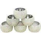 Handmade Indian Silver Beaded Napkin Rings - Set of 6 Rings