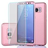 Samsung Galaxy S8 Case,Full Body Protection Ultra-thin Hard PC case with A Soft HD Screen Protector 360 All Round Anti Scratch Removable Hybrid Cover for galaxies s8 case (Rose)