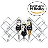 Wine Rack, 14-Bottle Countertop Wine Holder Stand, Metal