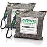 DRIVE Natural Car Air Freshener (Gray, 2-Pack), Best Auto Purifier Loaded 220g Moso Bamboo Activated Charcoal - Unscented Deodorizer Drying Bag Removes Allergens & Moisture - Prevents Bacteria, Mildew