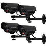 WALI Bullet Dummy Fake Surveillance Security CCTV Dome Camera Indoor Outdoor with one LED Light + Warning Security Alert Sticker Decals WL-TC-B4, 4 Pack
