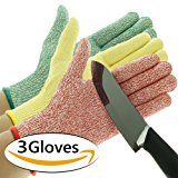 3 Pack TruChef Cut Resistant Gloves - Maximum Level 5 Protection, Food Grade, 3 Fun Colors To Prevent Cross Contamination, Fits Both Hands, Size Small