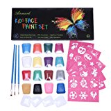 Face Paint Kit,Airmark 16 Colored Professional Body Painting Set for Kids with 36 Stencils and 3 Brushes,Best Party Palette Kits Non-Toxic,FDA Approved