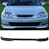 Front Bumper Lip Fits 1999-2000 Honda Civic | T-R Style Black PP Front Lip Finisher Under Chin Spoiler Add On by IKON MOTORSPORTS