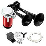 Zone Tech 12V Dual Trumpet Horn - Premium Quality Classic Black Super Loud Powerful Train Sound Shiny Dual Car Van Truck Boat Air Horn